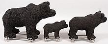 Three Graduated Toy Black Bear Pull Toys. Strap ir
