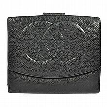 Chanel CC Logos Bifold Wallet Caviar Skin