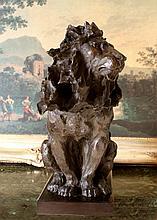 ENORMOUS 50LB Bronze Lion with Blowing Mane