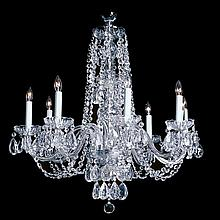 8-light Crystal, Silvertone Chandelier