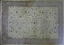 Persian Kashan Carpet, Ivory, Pink.