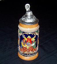 Vintage GERZ Ceramic with Pewter Lid Beer Stein