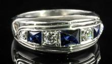 Platinum Brilliant Cut Natural Blue Sapphires And Diamonds Ladies Ring