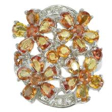 Orange Sapphire & White Topaz Flower Ring