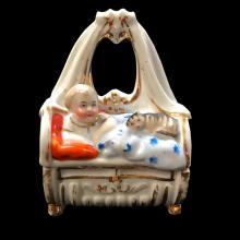Late 19thc Victorian, German Conta Boheme,Child & Cat Fairing Trinket Box