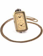 Ladies Brass Dual Time Oblong Pocket Watch Pendant Necklace