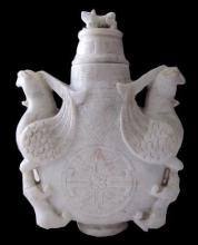 Carved Soapstone Double Phoenix Vase
