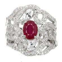 Red Ruby Sterling Silver Filigree Cocktail Ring