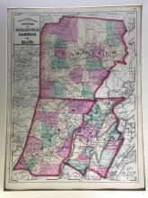 Early Color Atlas of Pennsylvania: Counties of Clearfield, Cambria and Blair ? 1872