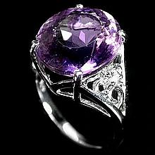 Large Amethyst & White Topaz Ring