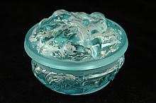 Vintage Art Nouveau-style Blue Frosted Box.