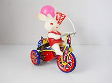 Mechanical Rabbit on a Tricycle Tin Toy