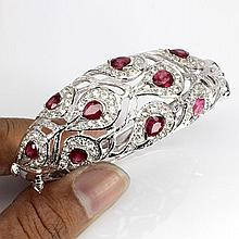 137 Ct Weight RUBY & WHITE TOPAZ bangle