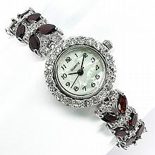Garnet, White Topaz & MOP Lady's Watch
