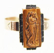 14K YELLOW GOLD LADIES ART NOUVEAU FIGURAL RING