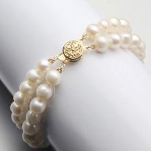 AAA+ 2 Rows 7-8mm Natural White Akoya Freshwater Pearl Bracelet 7.5