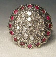 Diamond & Ruby Sunflower Cocktail Ring