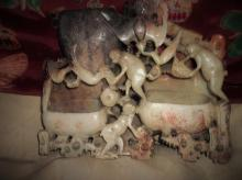 Soapstone Sculpture, Monkeys Dual Brush Pots, Bixi