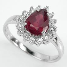 2ct Ruby & CZ Sterling Cocktail Ring
