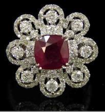 3.3ct Burmese Ruby & Diamond Ring