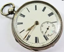 1886 Chester Silver Open Face Pocket Watch