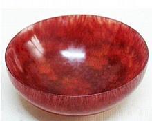 Red Hardstone Carved Bowl