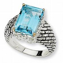 Silver w/ 14K Yellow Gold Sky Blue Topaz Ring