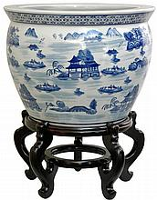 Fishbowl with Blue Landscape Design on White