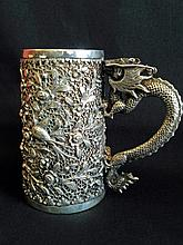 Chinese silver tankard with dragon handle