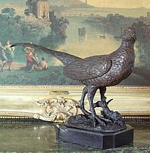 Splendid Bronze Sculpture Pheasant Bird