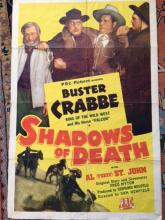Original 1945 Buster Crabbe Western Movie Poster