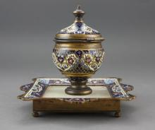 1880s French Champleve Enamel Onyx Inkwell