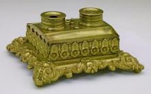 19thc Victorian Brass Rectangular Inkstand