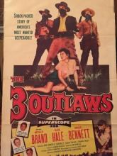 Original 1956 Western Movie Poster, 3 Outlaws