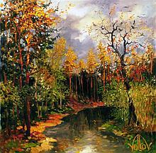 Russian Volkov Mihail Oil on Board Landscape