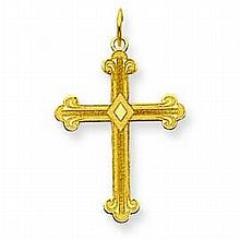 14K Yellow Gold Polished Laser Designed Cross