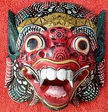 FOO DOG Hand Carved Wood Painted Vintage Mask