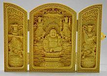 Hand Carved Floding Box -- Maitreya Buddha