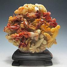 Shoushan Stone Hand-carved 10 Goldfish Statue