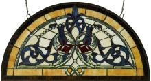 Half Round Tiffany Style Stained Glass Window Beveled Glass Panel , 34