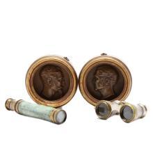 Antique Opera Glasses, Telescope and Plaques