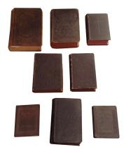 8 Antique Bibles & Books Some Leather Bound Inscribed Mid 19th C