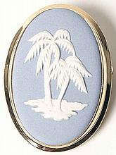 Wedgwood JASPERWARE LIGHT BLUE Palm Tree Brooch