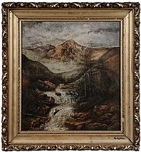 20th c Singed Western Landscape With Waterfall