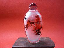 Crystal Interior Painted Plum Flower Snuff Bottle