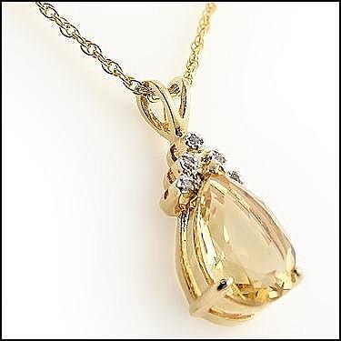 Oval Citrine, Diamond Pendant Necklace