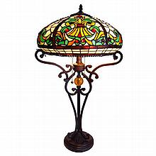 Tiffany-style Table Lamp w/ Ornate Base