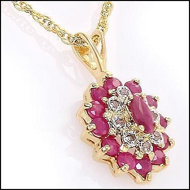 Ruby, Diamond Pendant Necklace.