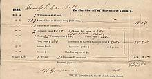 Antebellum Tax Document, 1843, incl. slaves.