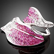 Pretty Pink & Clear Crystal Silver Leaf Design Rin